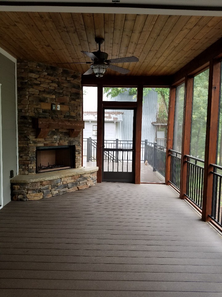 Johnson screened in porch with fireplace