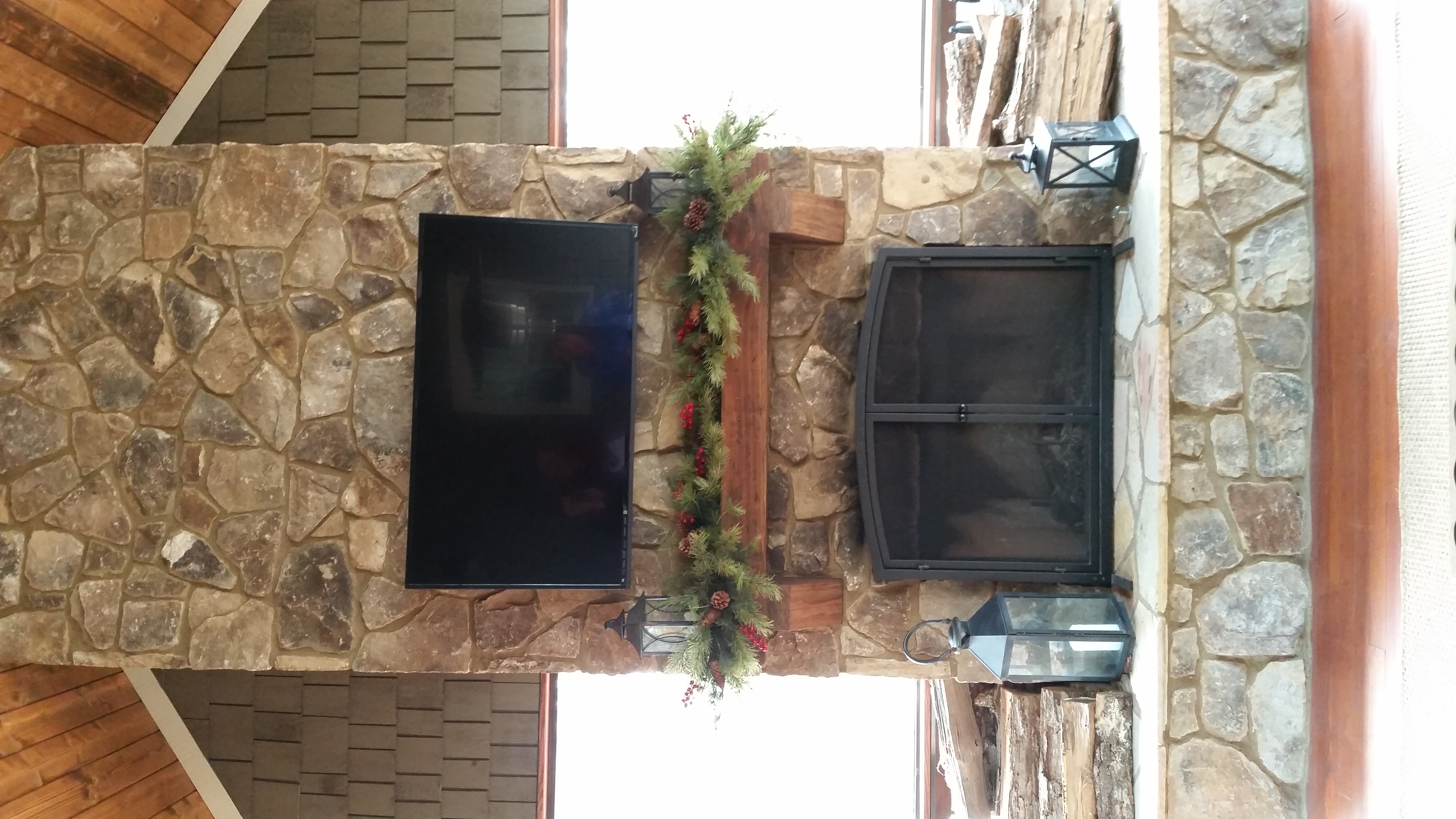 Oliver Screen porch fireplace