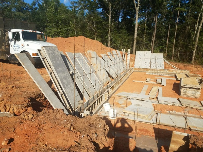 Wall forms going up