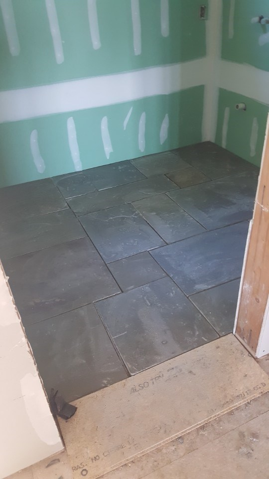 3-slate flooring installed